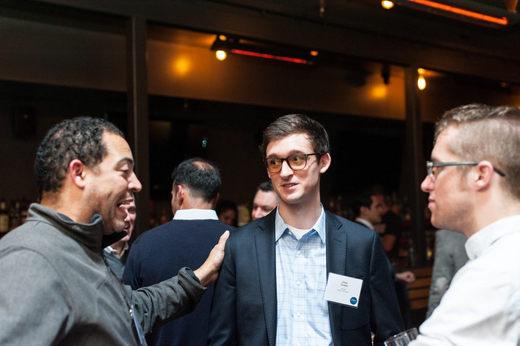 Entrepreneur Zachary Pogue (left) with Chris Conlan (center)